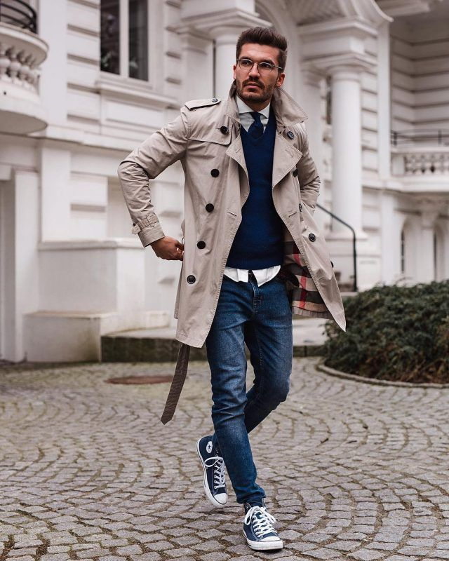133293cfb 6 Best Men Trench Coats This Winter. Tan trench coat, blue sweater ...