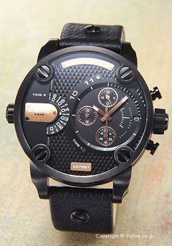 【DIESEL】ディーゼル腕時計LittleDaddy(リトルダディ)オールブラック×ローズゴールド/ブラックレザーストラップDZ7291
