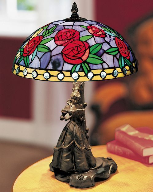 Disney - Beauty & the Beast Stained Glass (Tiffany Style) Lamp - LTD ED RETIRED