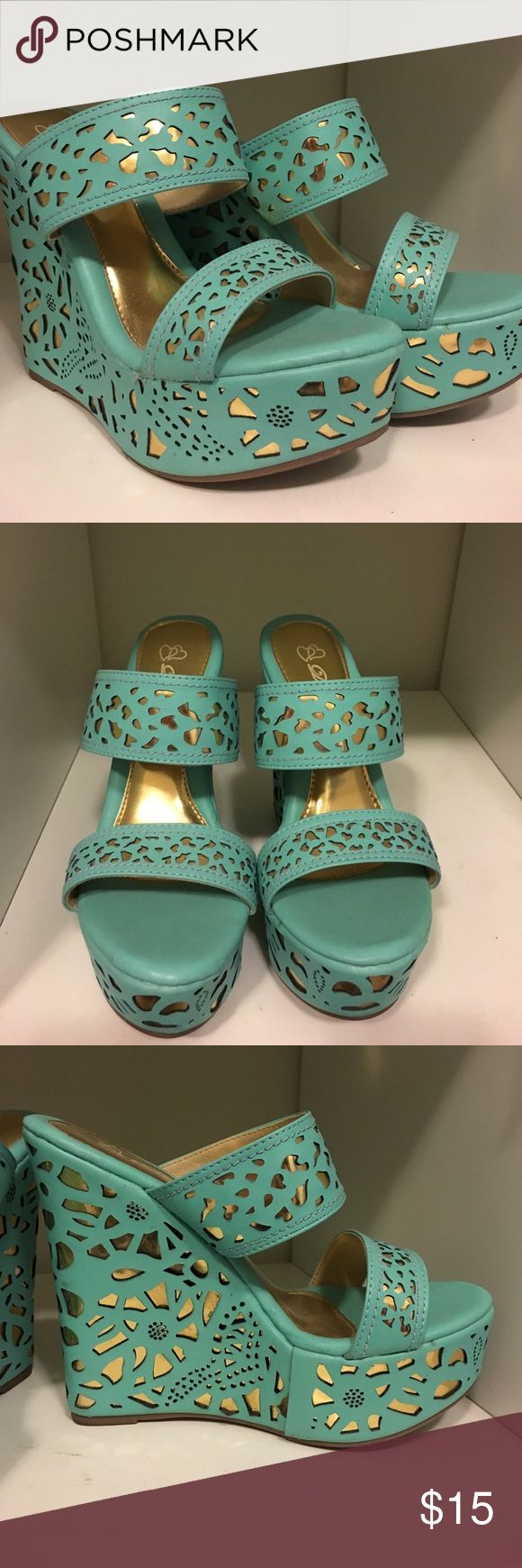 👡👠Turquoise wedges👡👠 New turquoise slip on wedges. Worn once, great condition Shoes Wedges