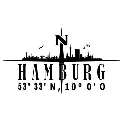 Skyline Hamburg mit Kompass-Breitengrad,Elbe,Geografie,Hafen,Hamburg,Hamburger,Lage,Längengrad,Name,Norden,Nordlich,Nordsee,Silhouette,deutschland,kompass,schiff,skyline,stadt,wasser-Skyline Hamburg mit Kompass