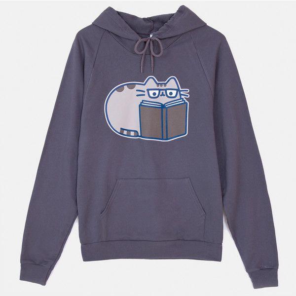 Reading Pusheen unisex hoodie ($45) ❤ liked on Polyvore featuring tops, hoodies, hoodie top, sweatshirt hoodies, blue top, unisex hoodies and blue hoodie