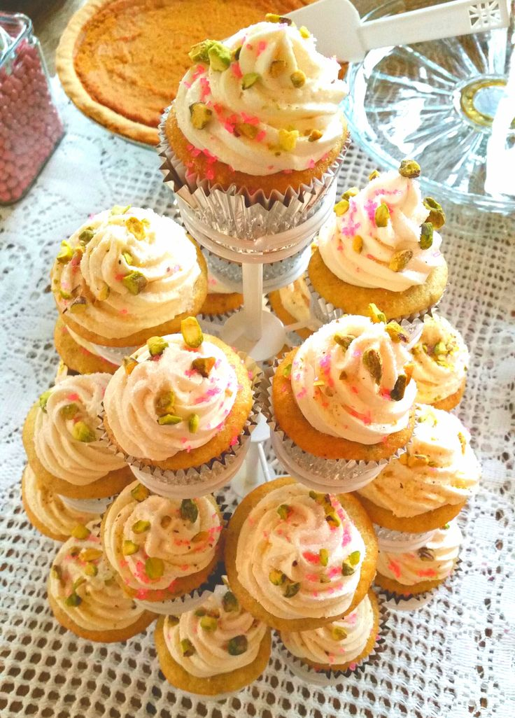 Rosewater  Vegan cupcakes with pistachio sprinkled frosting. Baked by my awesome friend Kelly. Rave reviews from guests. Plus they fit the rustic theme perfectly!