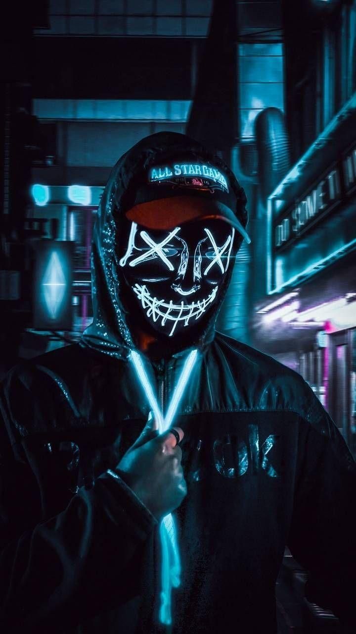 Neon Mask 4k Anime Gelap Seni Gelap Gambar Tokoh