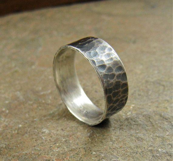 Hammered Sterling Silver Mens Ring Man Wedding Ring by organikx #handmade #man_ring