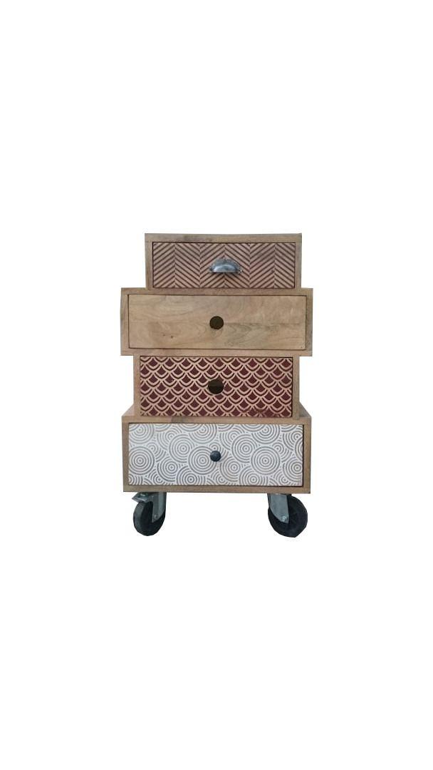 Meuble d 39 appoint design multi tiroirs sur roulettes design for Meuble a tiroirs sur roulettes
