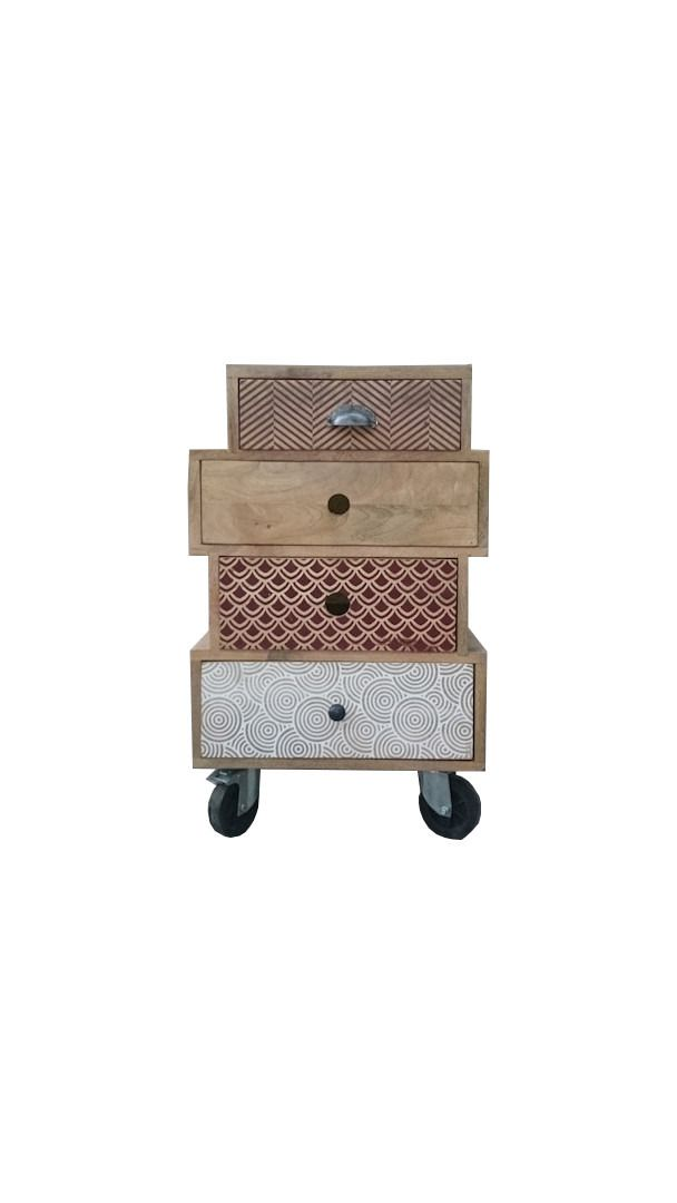 meuble d 39 appoint design multi tiroirs sur roulettes design. Black Bedroom Furniture Sets. Home Design Ideas
