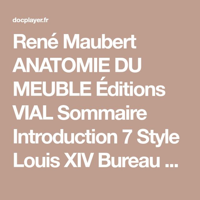 Anatomie du meuble - René Maubert