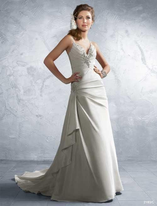 Balletts Bridal - 18030 - Wedding Gown by Alfred Angelo - LACE-UP Back Alfred Angelo 2183 WG.  Spaghetti strapped gown with low v neckline