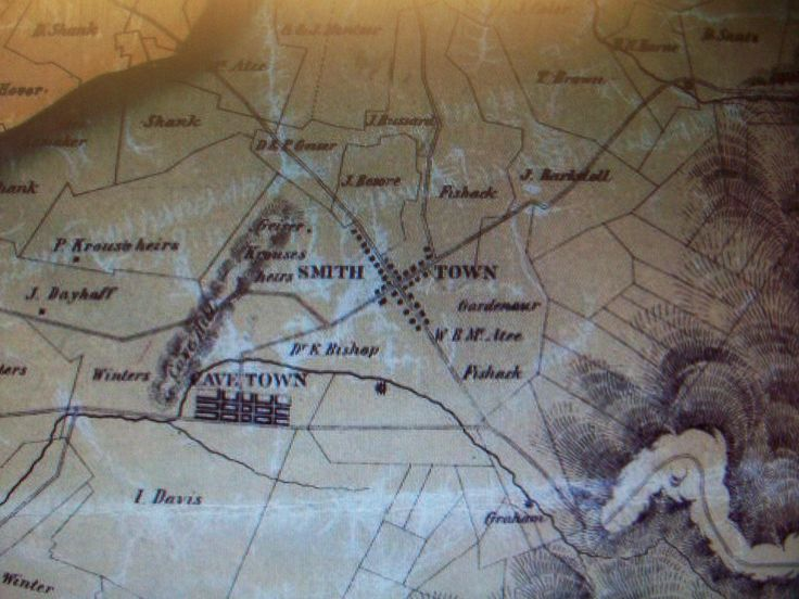 Image of a portion of an 1858 wall map showing Smith Town (Smithsburg), Maryland where in the novel, AURORA REDRESS by Zina Abbott, Marty comes looking for Eddie Burrows. She stumbles upon a station in the Underground Railroad.