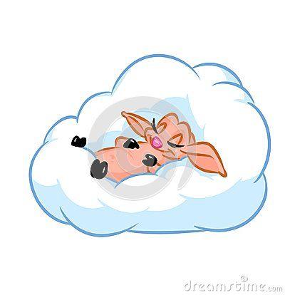 Cute fluffy lamb sleeps cartoon illustration