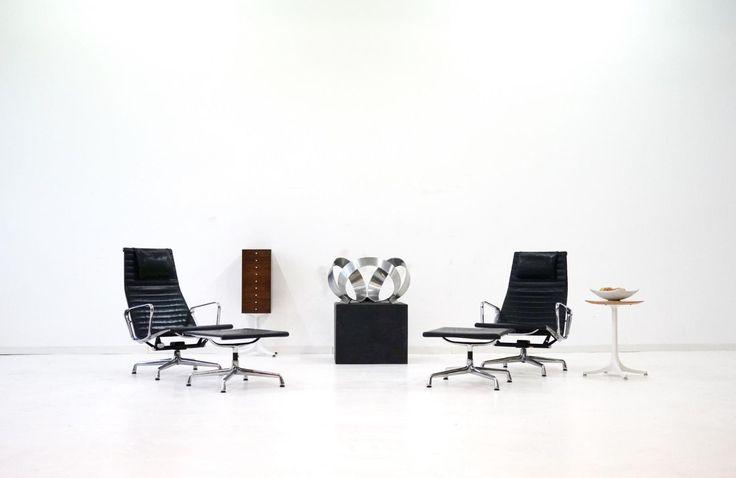 Wundervoll EA 124 +125 Vitra Leder Eames Lounge Chair Sessel Herman Miller Bürostuhl