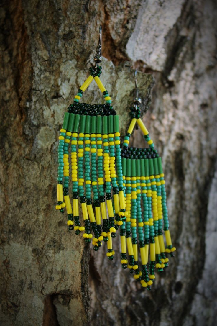 Native American Beaded Earrings Inspired By The Oregon Ducks By  Thebeadingswan On Etsy Https: