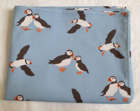 Puffin tea towel  puffin kitchen towel  puffin print  in
