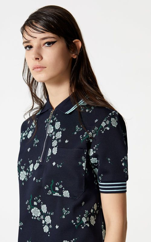 a350a7ab522 NAVY BLUE  Cheongsam Flower  Polo for women KENZO