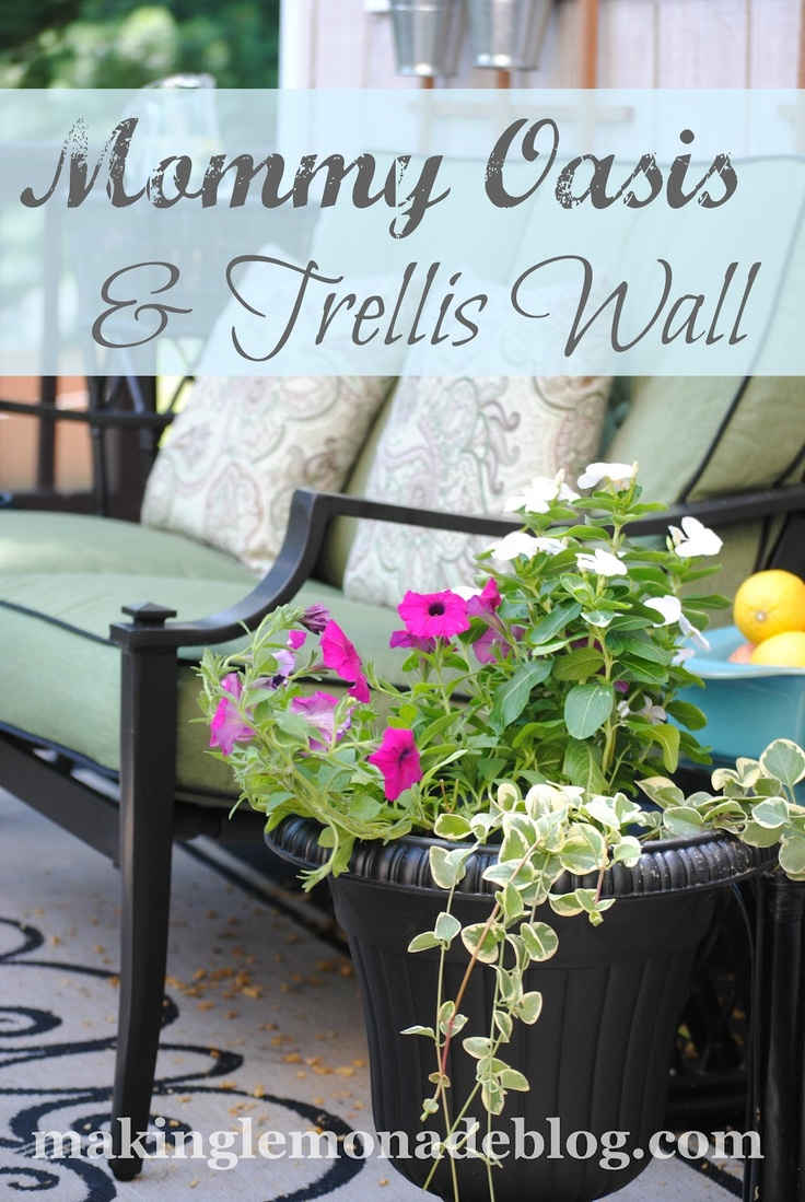 A few hours of sweat equity and presto-- outdoor oasis!  Plus a super easy 'living wall' of herbs and flowers.  Here's an inexpensive patio furniture set from Kmart you'll love!