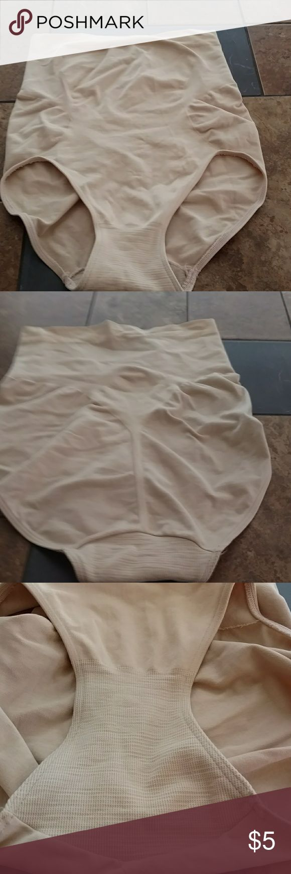 S/M Nude High Waist Shapewear 83% Nylon/16% Spandex/1% Cotton. Nude high waist shapewear underwear. Wore one time with underwear underneath garment (wanted all the hold I could get). Pictures of interior and exterior of gusset. No rips, tears or stains. Invisible Contours Intimates & Sleepwear Shapewear