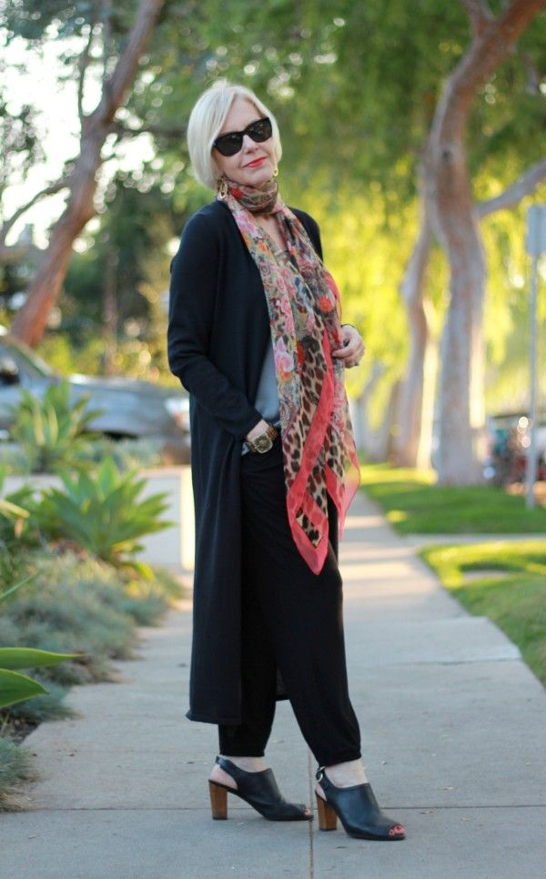 Loving these slouchy jersey pants! Look polished without sacrificing comfort. #EileenFisher #scarves #slouchy