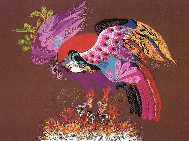 Phoenix • Painting by Ernie Cabat • from the book, Magical World Of Monsters • 1992Art Air, 1992, Art Photography, Art Inspiration, Ernie Cabat, Illustration, Brilliant Colors, Cabat Magic, Monsters