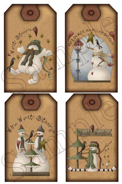 free primitive labels to print | Winter Wonderland Snowman Instant Printable Large Size Hang Tag