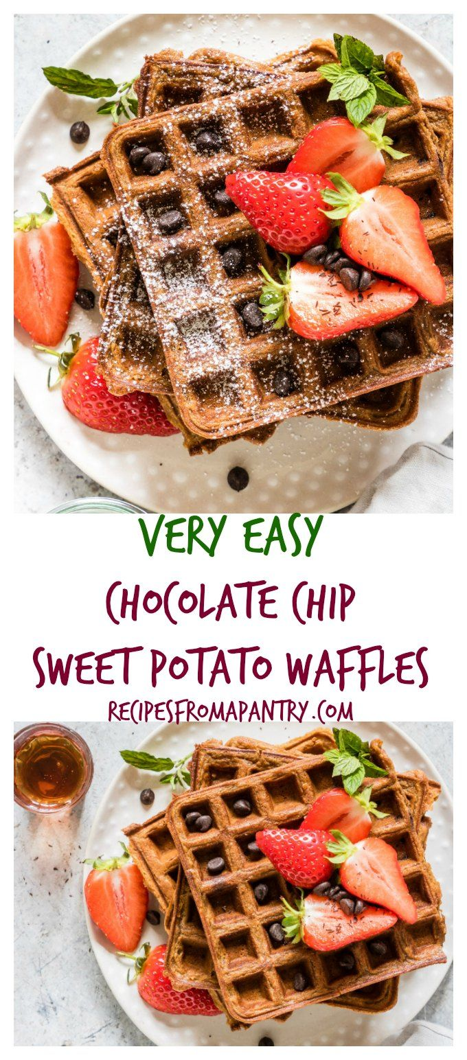 Super easy chocolate chip sweet potato waffles recipe with a Halloween twist your guests will love. See more at recipesfromapantry.com #sweetpotatowaffles #easysweetpotatowaffles #chocolatechipwaffles #sweetpotatochocolatechipwaffles #wafflerecipes