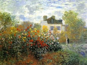 The Garden At Argenteuil Aka The Dahlias  Claude Oscar Monet