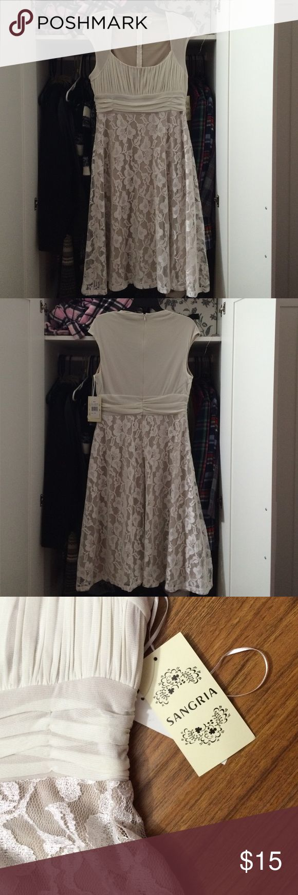 Sangria Cream/Nude Colored Lace Dress This dress is very beautiful. It's perfect for any type of formal occasion like wedding, dinners, baby showers, parties, etc. The lace shines in the light and makes this dress look flawless! Sangria Dresses