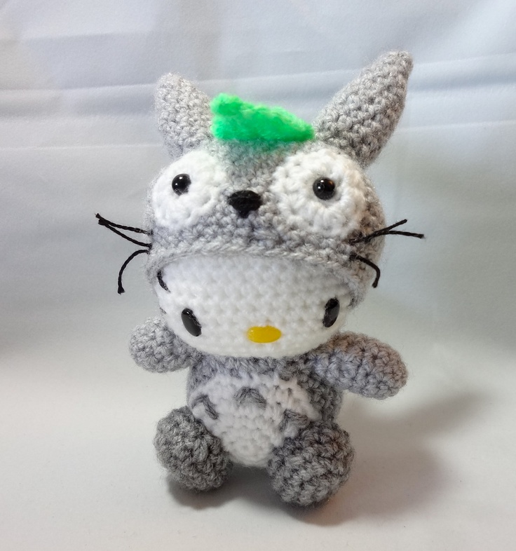 PDF Amigurumi Pattern: Kitty in Totoro Costume. $6.00, via Etsy.  Anyone really good at crocheting? I think this is over my head :)