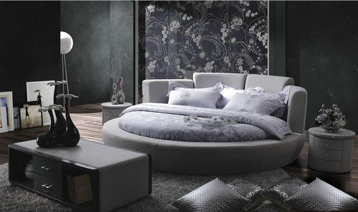 Współczesne nowoczesne tkaniny aksamitne okrągłe łóżko szary sypialnia meble Wykonane w Chinach