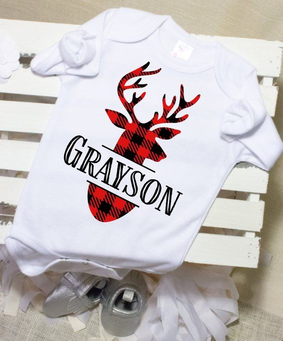 e9615f0d9756 Buffalo Plaid Baby Outfit Personalized Baby Boy