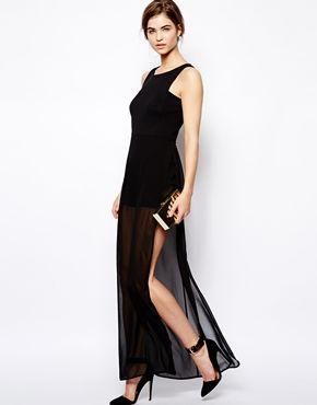 BCBGMAXAZRIA Kenzi Sheer Maxi Dress with Playsuit Underneath