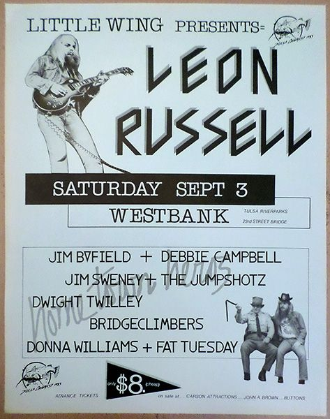 1983 Leon Russell, Jim Byfield & Debbie Campbell, Jim Sweney, Dwight Twilley and othersl Tulsa Concert Poster