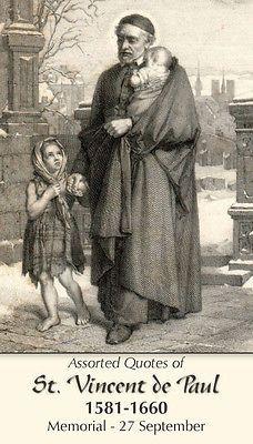 Saint St. Vincent de Paul Holy Prayer Card + Hospitals, charity, volunteers