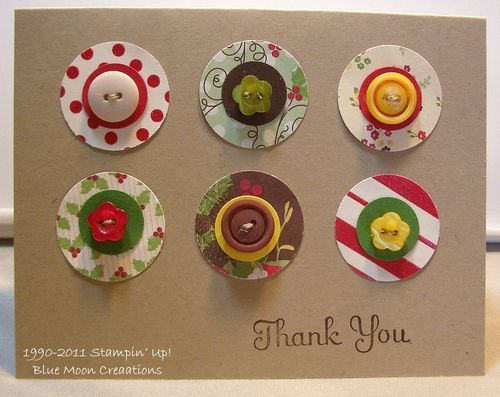 Circles Christmas Cards!  Here is another great idea for using paper scraps in your crafting.  Punch circles out of scrap paper using various sized circle punches.  Add smaller punched circles using coordinating card stock, then add brads and or buttons to the centers.  Very quick and easy.