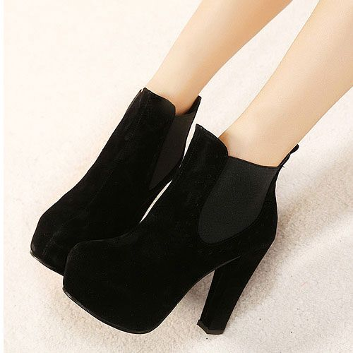 Comfortable Chunky High Heel Solid Color Platform Ankle Boot