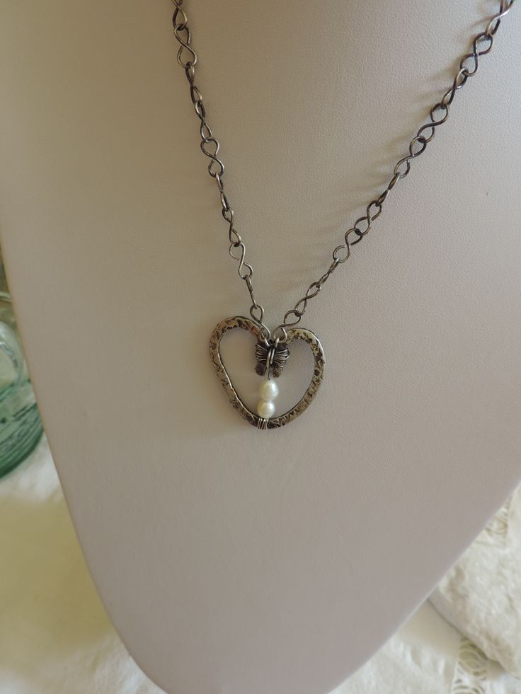 Pendant. Heart, Oxidized Silver, water fressh pearls, handmade chain by me. Soon will be listed on my etsy store