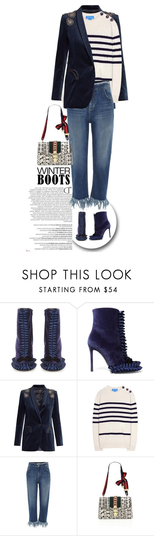 """""""Marco De Vincenzo Ruffled satin and velvet ankle boots"""" by esterp ❤ liked on Polyvore featuring Marco de Vincenzo, Balmain, Blazé Milano, M.i.h Jeans, River Island and Gucci"""