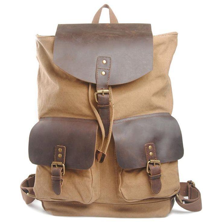 KDQ2 Women Men Canvas Backpack Leather Patchwork Rucksack Book Shoulder Bag 152