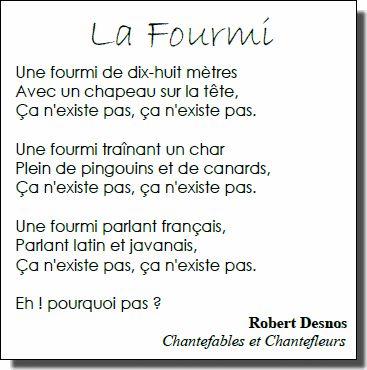 Voici une poésie de Robert Desnos, souvent donnée dans les écoles, qui se prête bien à des productions d'écrits dans le style de l'auteur en laissant alle
