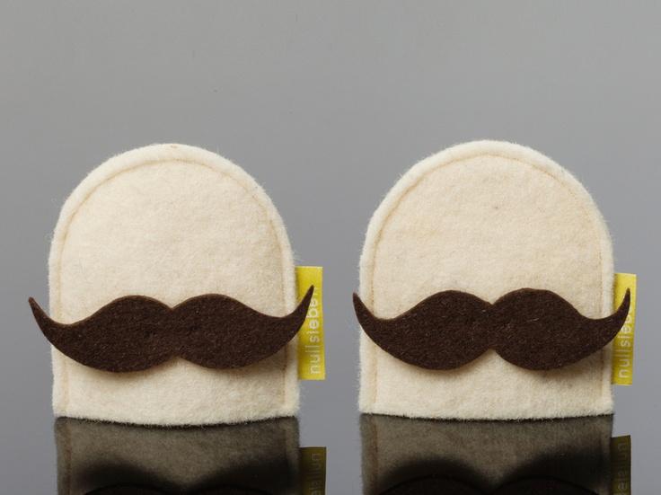 Eierwärmer mit Bart // Moustache egg warmers by vivabavaria via DaWanda.com