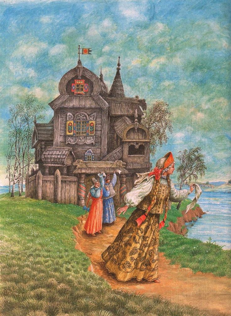 Illustration by Boris Diodorov for russian fairy tale The Scarlet Flower (Alenkiy Tsvetochek) written by Aksakov. An adaptation of traditional fairy tale Beauty and the Beast.