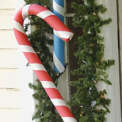 """<a href=""""http://spoonful.com/crafts/pool-noodle-candy-canes"""" target=""""blank""""> Pool Noodle Candy Canes </a>"""