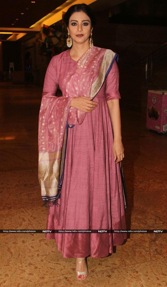 Actress Tabu looked graceful in pink matka anarkali designed by Gaurang Shah.