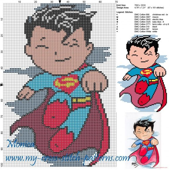 Superman cross stitch pattern