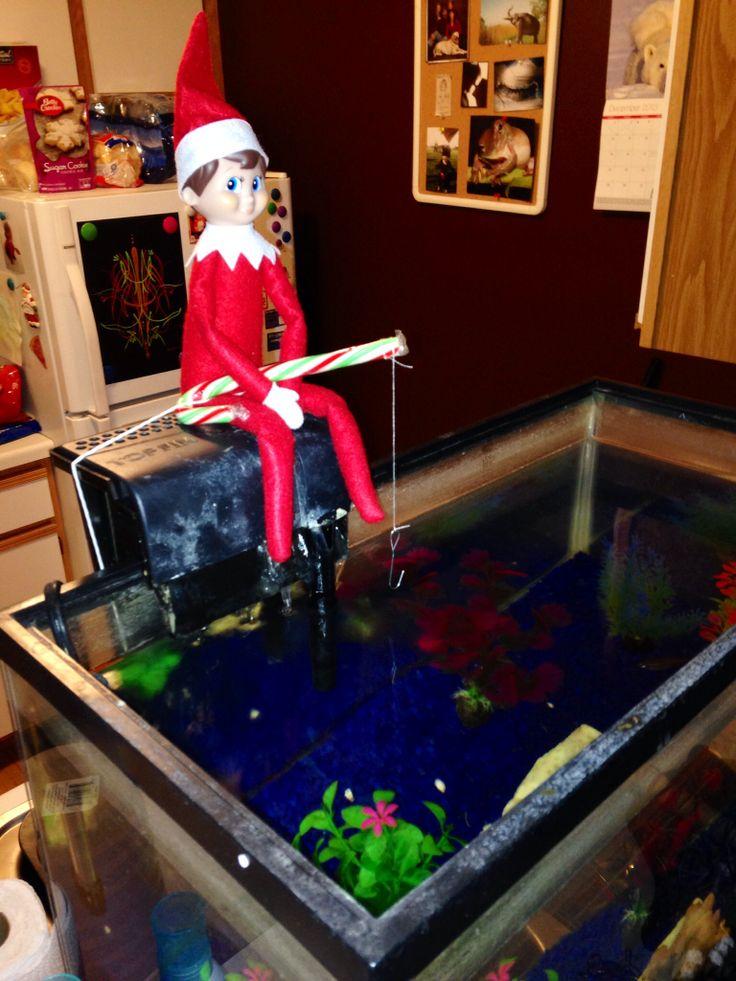 Fishing in the fish tank elf on the shelf ideas for Elf on the shelf fishing