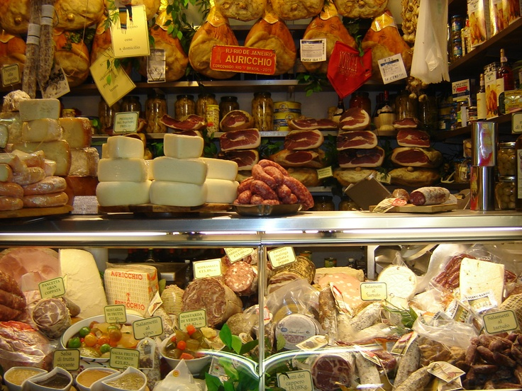Cheese salami proscuitto ham in the food market in for Dream store firenze