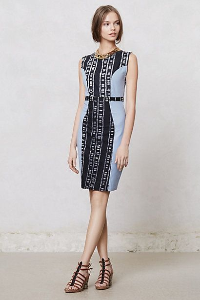 So flattering. Great way to use shibori or batik.  Peplos Pencil Dress - Anthropologie.com
