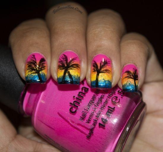 caribbean sunset     bellezzabee   2013 05 nail