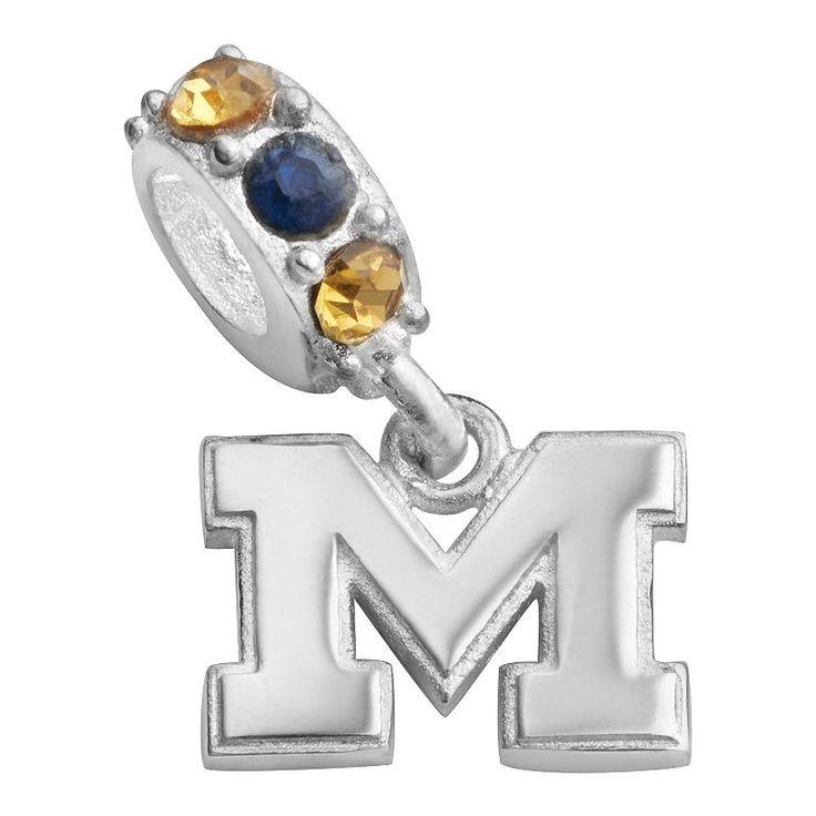 Dayna U Michigan Wolverines Sterling Silver Crystal Logo Charm, Women's, multicolor