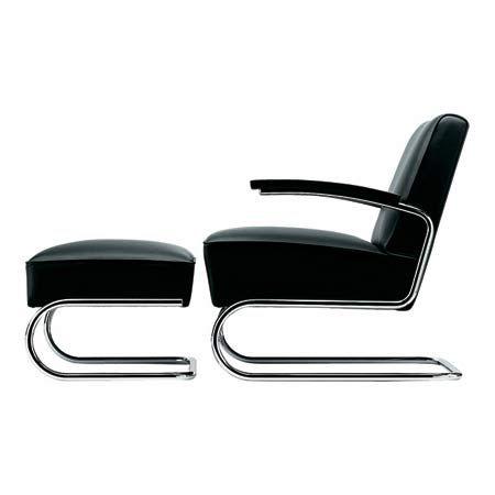 Design stoel en hocker zwart Italiaans leren kussen; verchroomd onderstel;